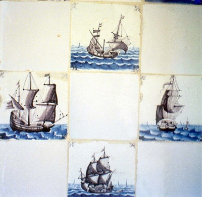 Hand painted tile probably English after the Dutch style