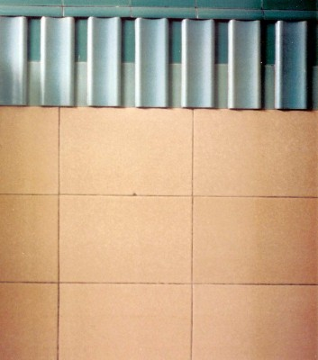 A detail of the architectural scheme designed by Sir Owen Williams in the Boots' D6 Building in Nottinghamshire