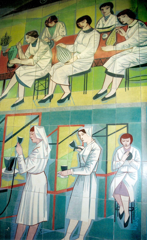 A detail of the Poole Pottery Mural by Carters of Poole