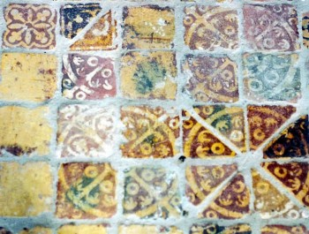 Medieval tiles at Buildwas Abbey, Shropshire. UK