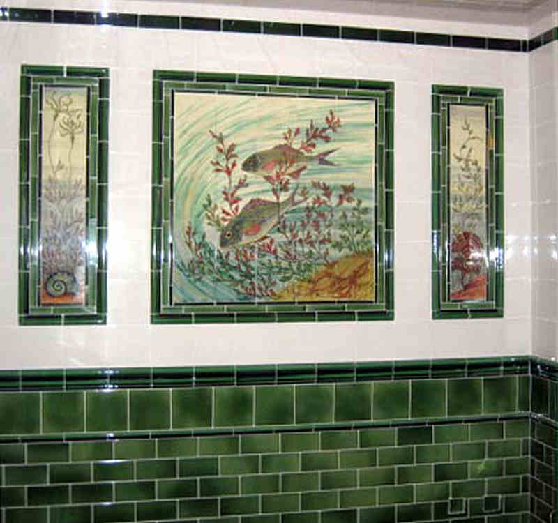Three of the twelve restored panel in The Fish and Chip Shop, Black Country Museum, Dudley.