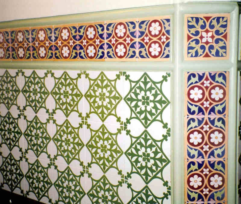 Detail of the Pugin tiles in the Terrace Restaurant, formerly the Strangers Smoking Room, House of Commons, London.