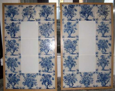 Tiles from Carshalton Bath House made into a decorative panel for hanging