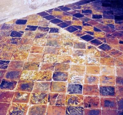 Tiles in Guy's Tower, Warwick Castle